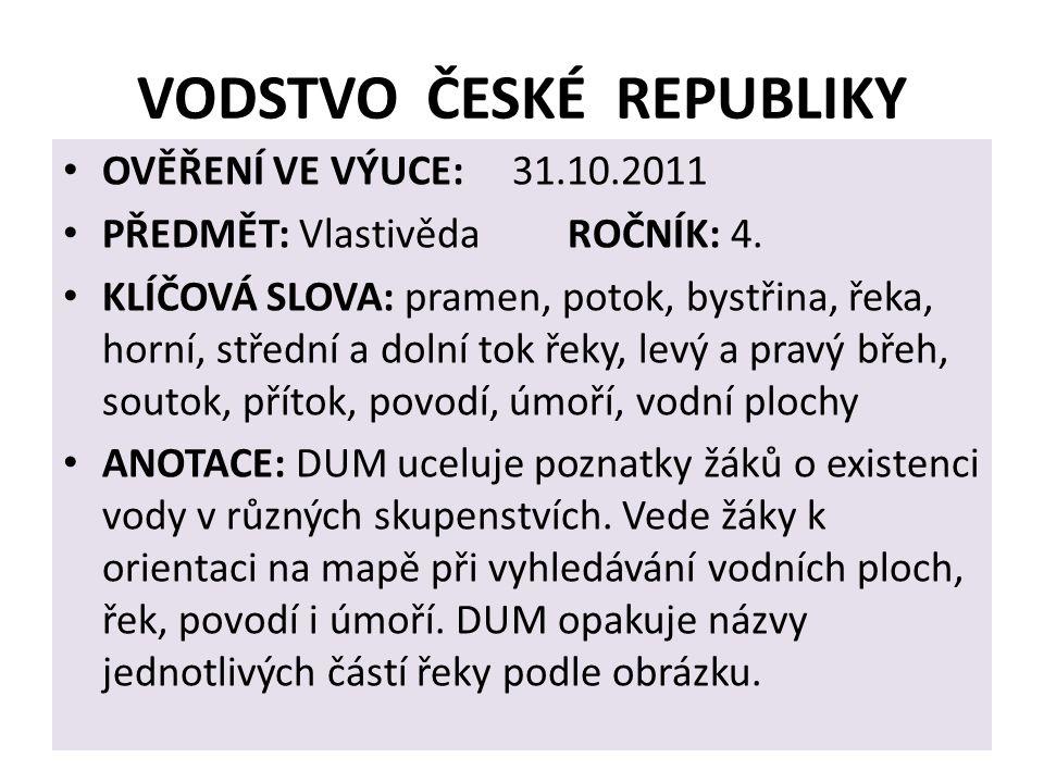 VODSTVO ČESKÉ REPUBLIKY OVĚŘENÍ VE VÝUCE: 31.10.2011 PŘEDMĚT: Vlastivěda ROČNÍK: 4.