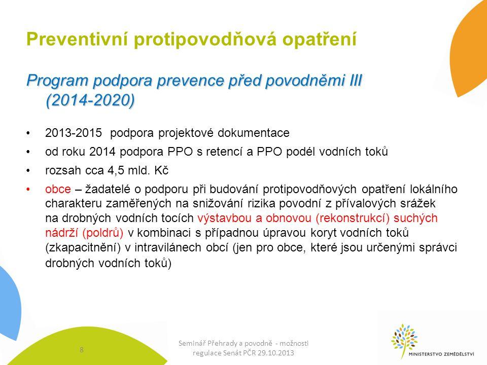 Preventivní protipovodňová opatření Program podpora prevence před povodněmi III (2014-2020) 2013-2015 podpora projektové dokumentace od roku 2014 podpora PPO s retencí a PPO podél vodních toků rozsah cca 4,5 mld.