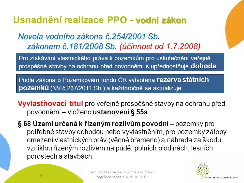 9 vodní zákon Usnadnění realizace PPO - vodní zákon Novela vodního zákona č.254/2001 Sb.