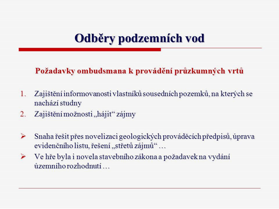 Odběry podzemních vod Požadavky ombudsmana k provádění průzkumných vrtů 1.Zajištění informovanosti vlastníků sousedních pozemků, na kterých se nachází