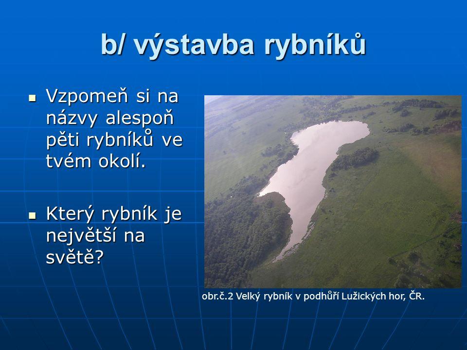 b/ výstavba rybníků Vzpomeň si na názvy alespoň pěti rybníků ve tvém okolí.