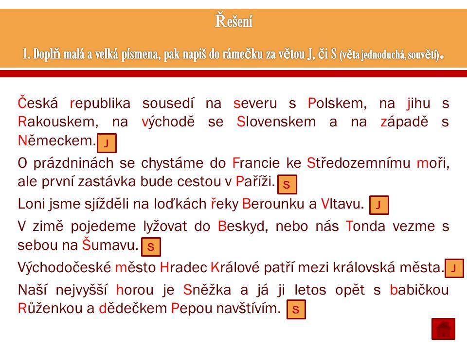 Česká republika sousedí na severu s Polskem, na jihu s Rakouskem, na východě se Slovenskem a na západě s Německem. O prázdninách se chystáme do Franci