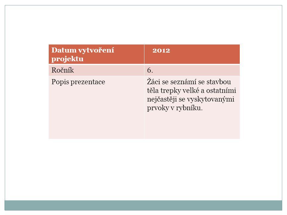 Datum vytvoření projektu 2012 Ročník6. Popis prezentaceŽáci se seznámí se stavbou těla trepky velké a ostatními nejčastěji se vyskytovanými prvoky v r