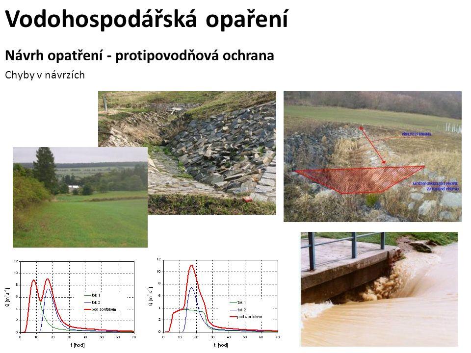 Návrh opatření - protipovodňová ochrana Chyby v návrzích Vodohospodářská opaření