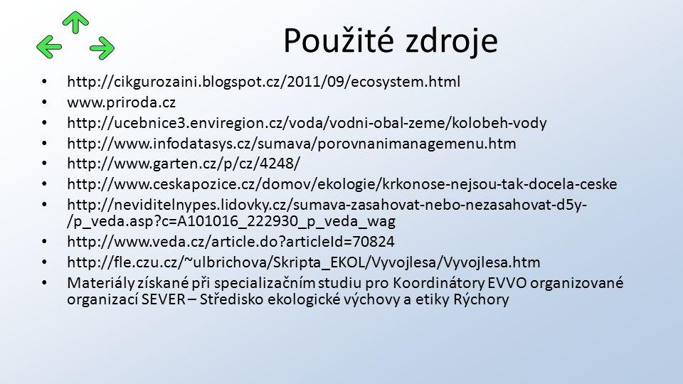 http://cikgurozaini.blogspot.cz/2011/09/ecosystem.html www.priroda.cz http://ucebnice3.enviregion.cz/voda/vodni-obal-zeme/kolobeh-vody http://www.infodatasys.cz/sumava/porovnanimanagemenu.htm http://www.garten.cz/p/cz/4248/ http://www.ceskapozice.cz/domov/ekologie/krkonose-nejsou-tak-docela-ceske http://neviditelnypes.lidovky.cz/sumava-zasahovat-nebo-nezasahovat-d5y- /p_veda.asp c=A101016_222930_p_veda_wag http://www.veda.cz/article.do articleId=70824 http://fle.czu.cz/~ulbrichova/Skripta_EKOL/Vyvojlesa/Vyvojlesa.htm Materiály získané při specializačním studiu pro Koordinátory EVVO organizované organizací SEVER – Středisko ekologické výchovy a etiky Rýchory Použité zdroje