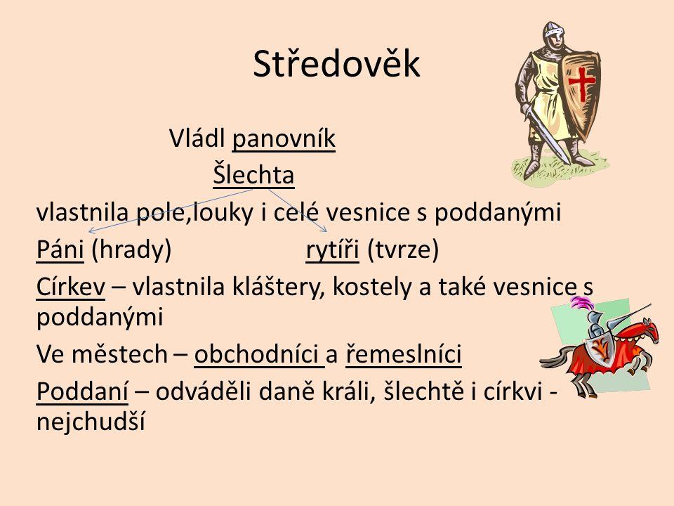 Středověk Vládl panovník Šlechta vlastnila pole,louky i celé vesnice s poddanými Páni (hrady) rytíři (tvrze) Církev – vlastnila kláštery, kostely a ta