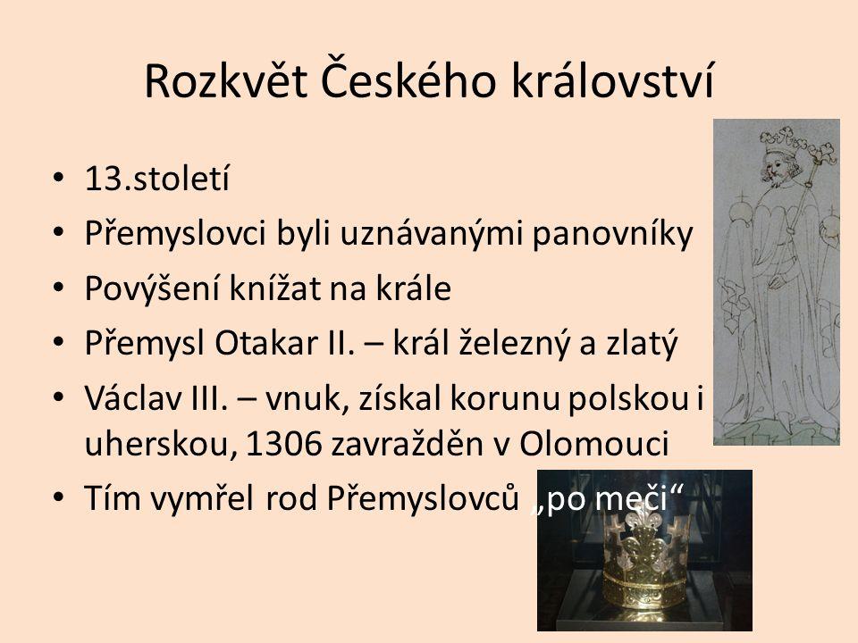 Rozkvět Českého království 13.století Přemyslovci byli uznávanými panovníky Povýšení knížat na krále Přemysl Otakar II. – král železný a zlatý Václav