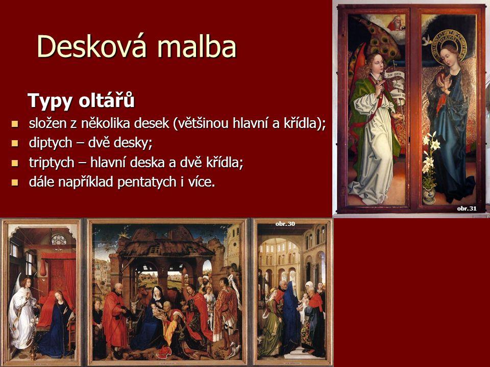 Desková malba Typy oltářů Typy oltářů složen z několika desek (většinou hlavní a křídla); složen z několika desek (většinou hlavní a křídla); diptych – dvě desky; diptych – dvě desky; triptych – hlavní deska a dvě křídla; triptych – hlavní deska a dvě křídla; dále například pentatych i více.