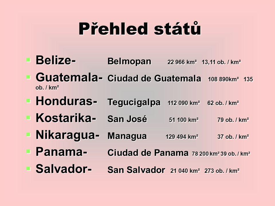 Přehled států  Belize- Belmopan 22 966 km² 13,11 ob.
