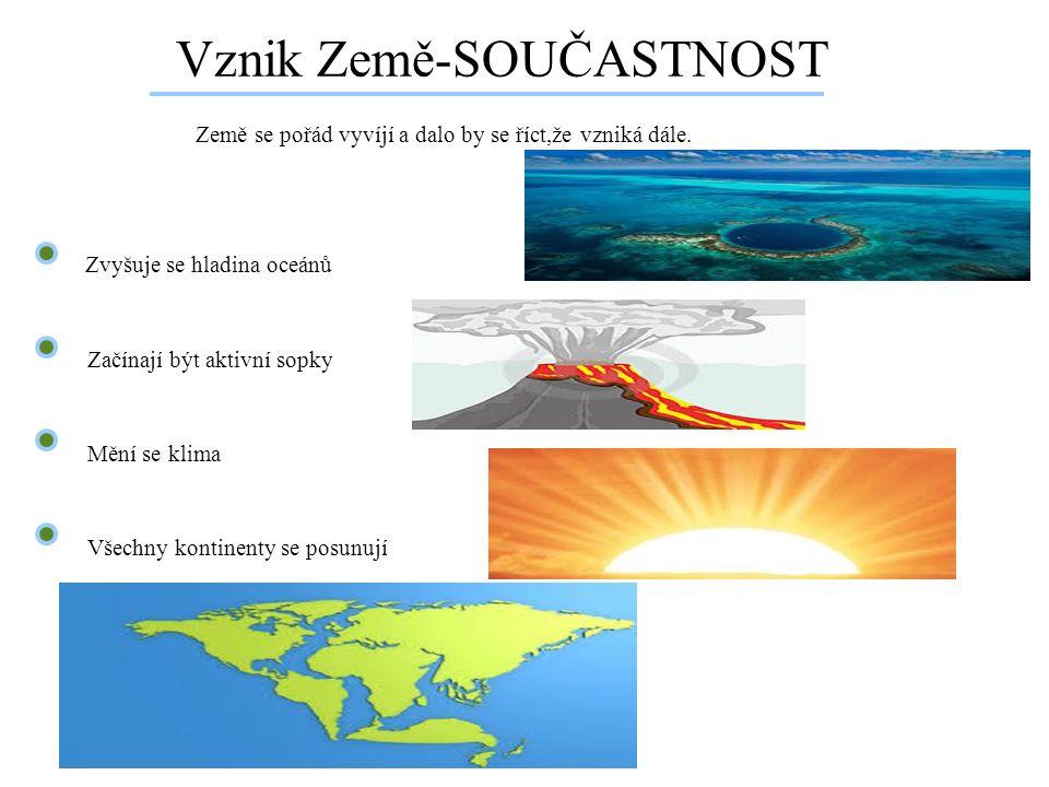 Vznik Země-SOUČASTNOST Země se pořád vyvíjí a dalo by se říct,že vzniká dále. Zvyšuje se hladina oceánů Začínají být aktivní sopky Všechny kontinenty
