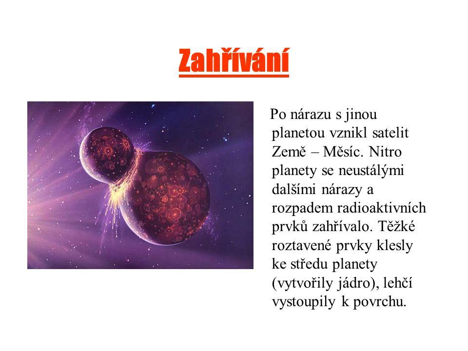 Zahřívání Po nárazu s jinou planetou vznikl satelit Země – Měsíc. Nitro planety se neustálými dalšími nárazy a rozpadem radioaktivních prvků zahřívalo