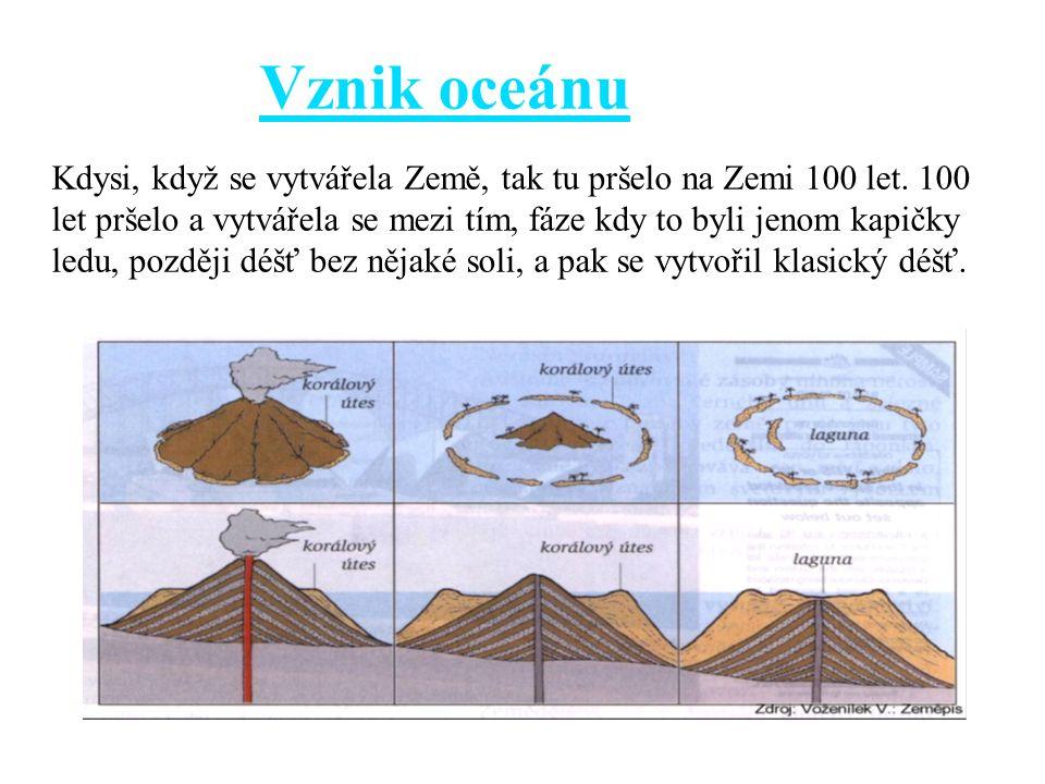 Vznik oceánu Kdysi, když se vytvářela Země, tak tu pršelo na Zemi 100 let. 100 let pršelo a vytvářela se mezi tím, fáze kdy to byli jenom kapičky ledu