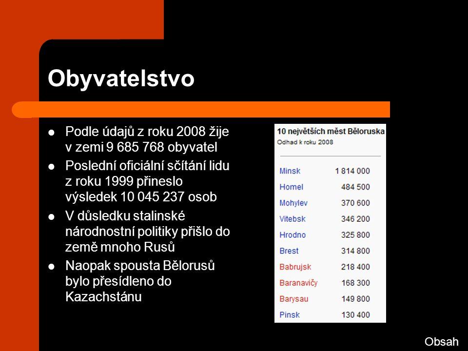 Obyvatelstvo Podle údajů z roku 2008 žije v zemi 9 685 768 obyvatel Poslední oficiální sčítání lidu z roku 1999 přineslo výsledek 10 045 237 osob V důsledku stalinské národnostní politiky přišlo do země mnoho Rusů Naopak spousta Bělorusů bylo přesídleno do Kazachstánu Obsah