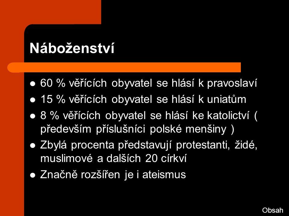 Náboženství 60 % věřících obyvatel se hlásí k pravoslaví 15 % věřících obyvatel se hlásí k uniatům 8 % věřících obyvatel se hlásí ke katolictví ( především příslušníci polské menšiny ) Zbylá procenta představují protestanti, židé, muslimové a dalších 20 církví Značně rozšířen je i ateismus Obsah