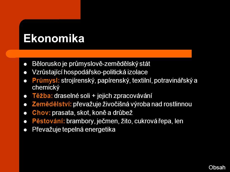 Ekonomika Bělorusko je průmyslově-zemědělský stát Vzrůstající hospodářsko-politická izolace Průmysl: strojírenský, papírenský, textilní, potravinářský a chemický Těžba: draselné soli + jejich zpracovávání Zemědělství: převažuje živočišná výroba nad rostlinnou Chov: prasata, skot, koně a drůbež Pěstování: brambory, ječmen, žito, cukrová řepa, len Převažuje tepelná energetika Obsah