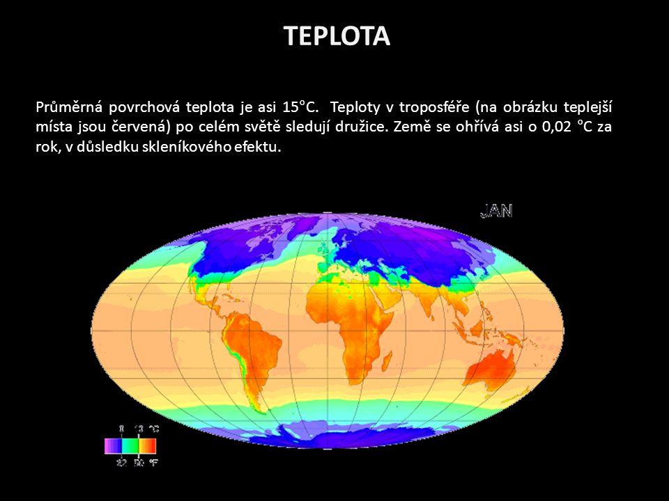 TEPLOTA Průměrná povrchová teplota je asi 15°C.