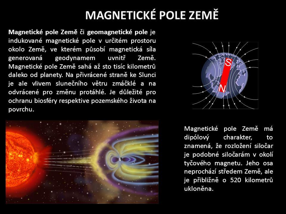 MAGNETICKÉ POLE ZEMĚ Magnetické pole Země či geomagnetické pole je indukované magnetické pole v určitém prostoru okolo Země, ve kterém působí magnetická síla generovaná geodynamem uvnitř Země.