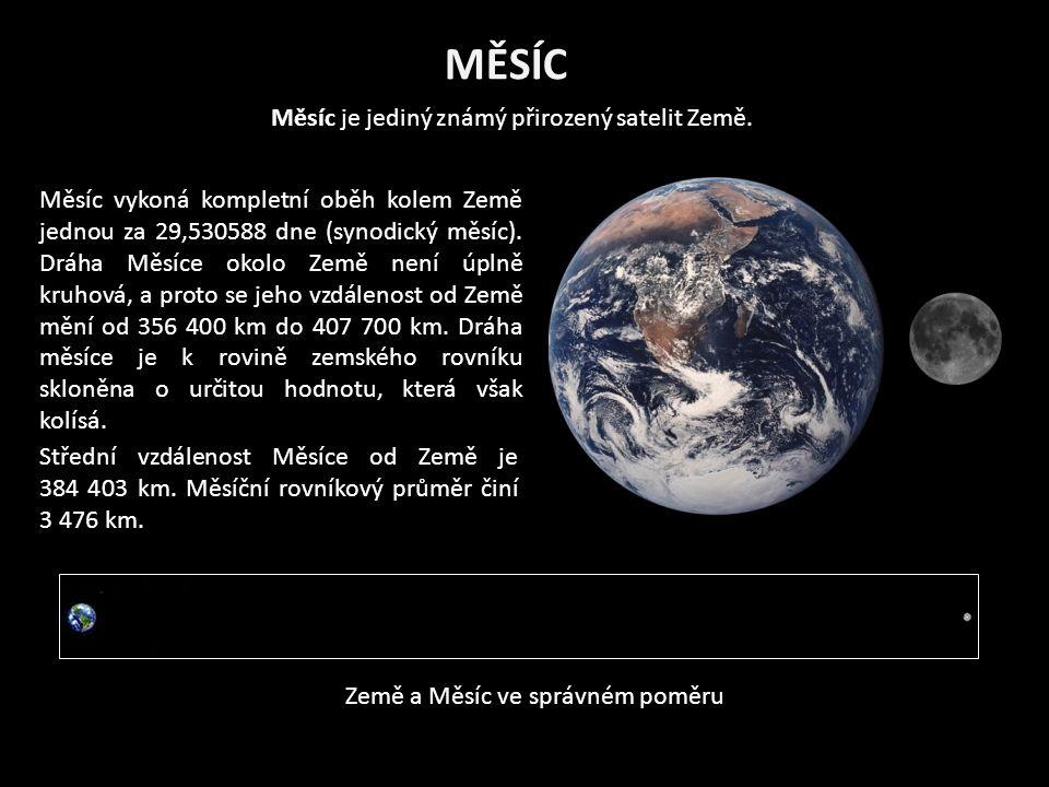 MĚSÍC Měsíc je jediný známý přirozený satelit Země.