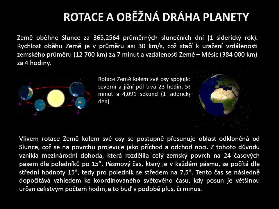 ROTACE A OBĚŽNÁ DRÁHA PLANETY Země oběhne Slunce za 365,2564 průměrných slunečních dní (1 siderický rok).