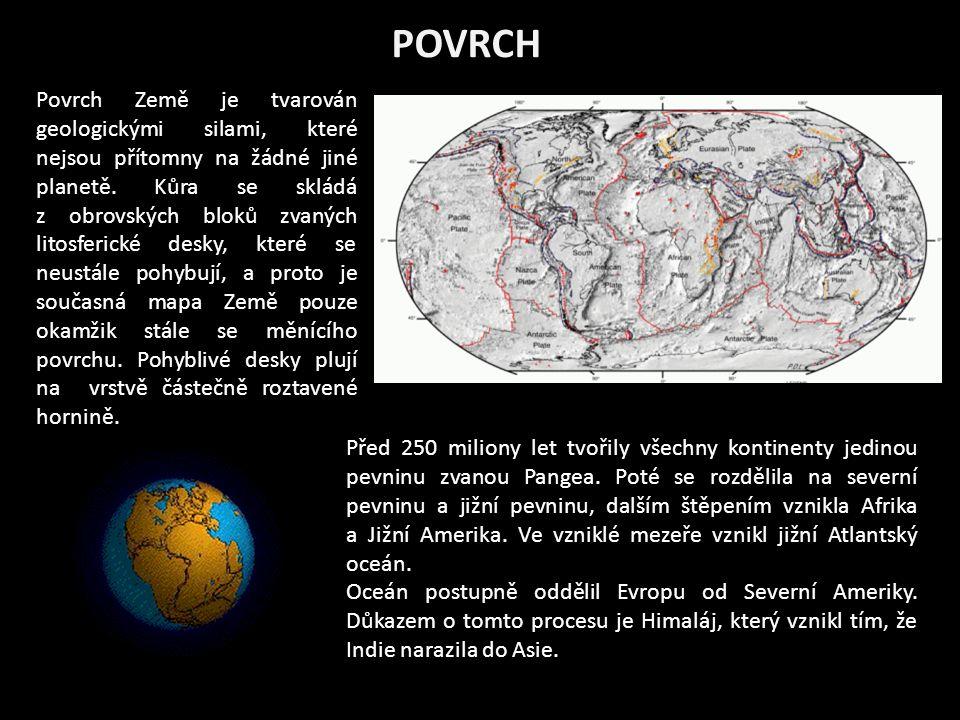 POVRCH Povrch Země je tvarován geologickými silami, které nejsou přítomny na žádné jiné planetě.