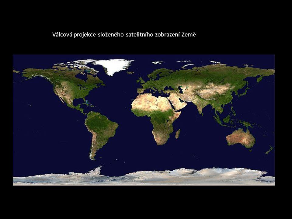 Válcová projekce složeného satelitního zobrazení Země