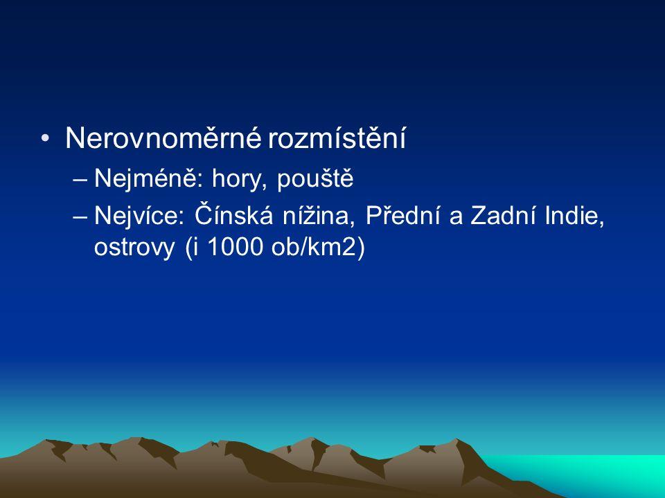 Nerovnoměrné rozmístění –Nejméně: hory, pouště –Nejvíce: Čínská nížina, Přední a Zadní Indie, ostrovy (i 1000 ob/km2)