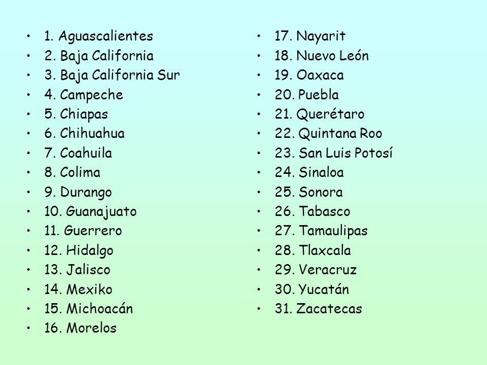 1. Aguascalientes 2. Baja California 3. Baja California Sur 4.