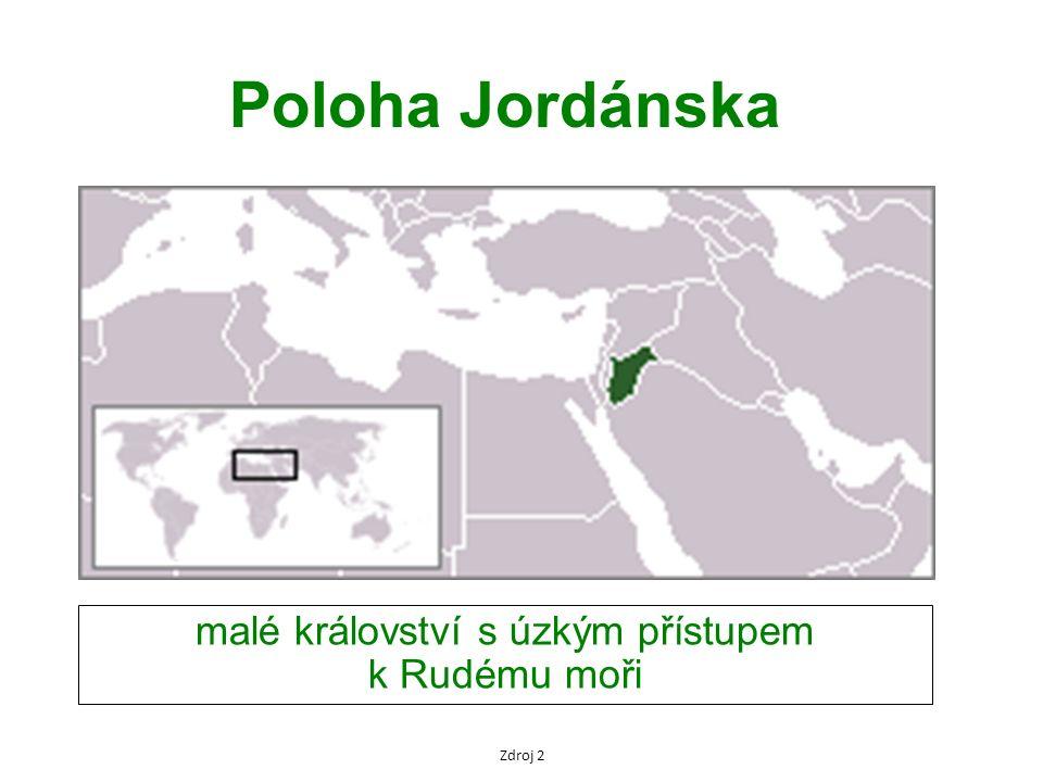 Poloha Jordánska malé království s úzkým přístupem k Rudému moři Zdroj 2