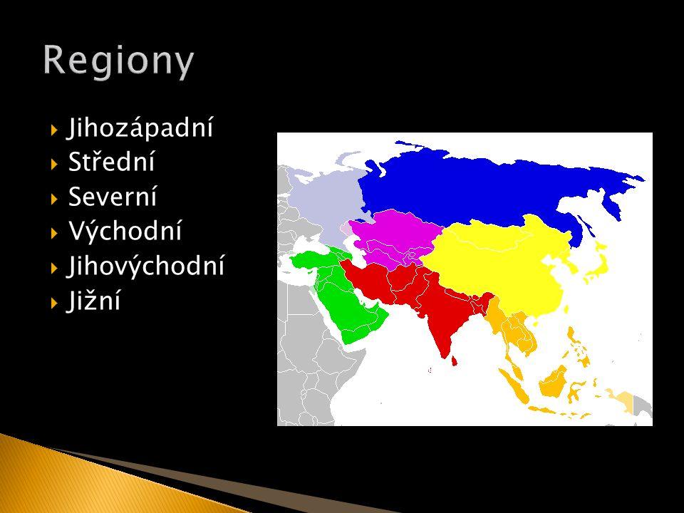  Jihozápadní  Střední  Severní  Východní  Jihovýchodní  Jižní