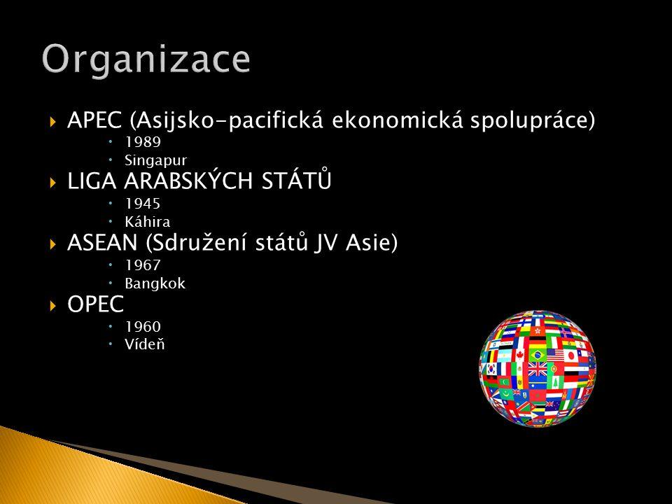  APEC (Asijsko-pacifická ekonomická spolupráce)  1989  Singapur  LIGA ARABSKÝCH STÁTŮ  1945  Káhira  ASEAN (Sdružení států JV Asie)  1967  Bangkok  OPEC  1960  Vídeň