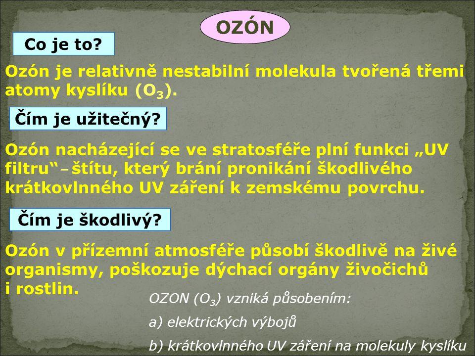 OZON (O 3 ) vzniká působením: a) elektrických výbojů b) krátkovlnného UV záření na molekuly kyslíku OZÓN Ozón je relativně nestabilní molekula tvořená