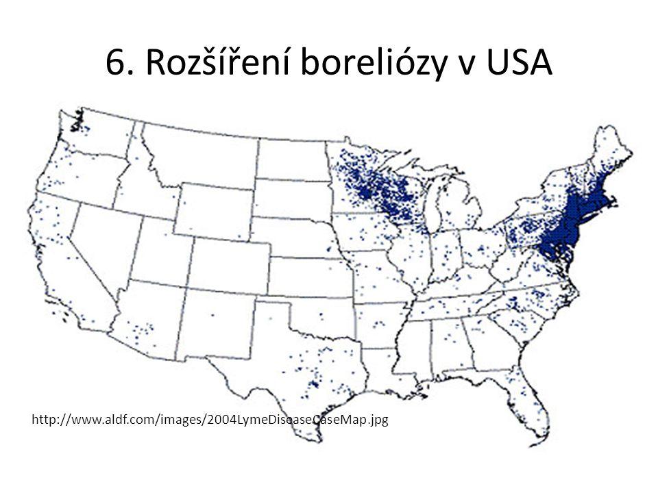 http://www.aldf.com/images/2004LymeDiseaseCaseMap.jpg 6. Rozšíření boreliózy v USA