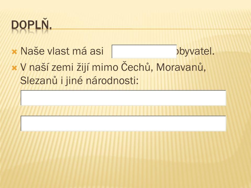  Naše vlast má asi obyvatel.  V naší zemi žijí mimo Čechů, Moravanů, Slezanů i jiné národnosti:
