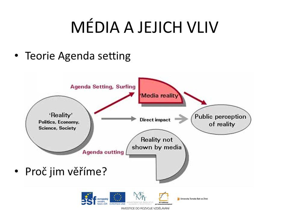 MÉDIA A JEJICH VLIV Teorie Agenda setting Proč jim věříme?