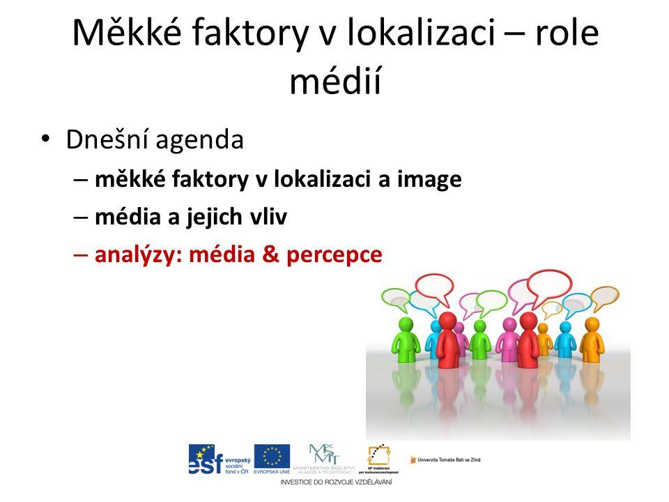 Dnešní agenda – měkké faktory v lokalizaci a image – média a jejich vliv – analýzy: média & percepce Měkké faktory v lokalizaci – role médií