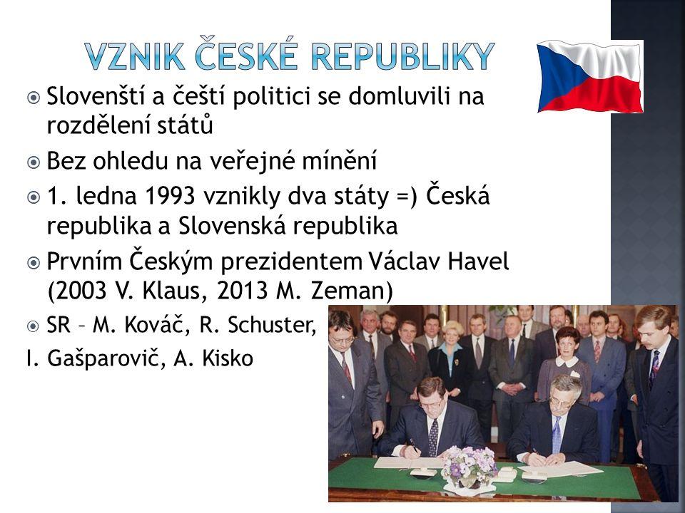  Slovenští a čeští politici se domluvili na rozdělení států  Bez ohledu na veřejné mínění  1.