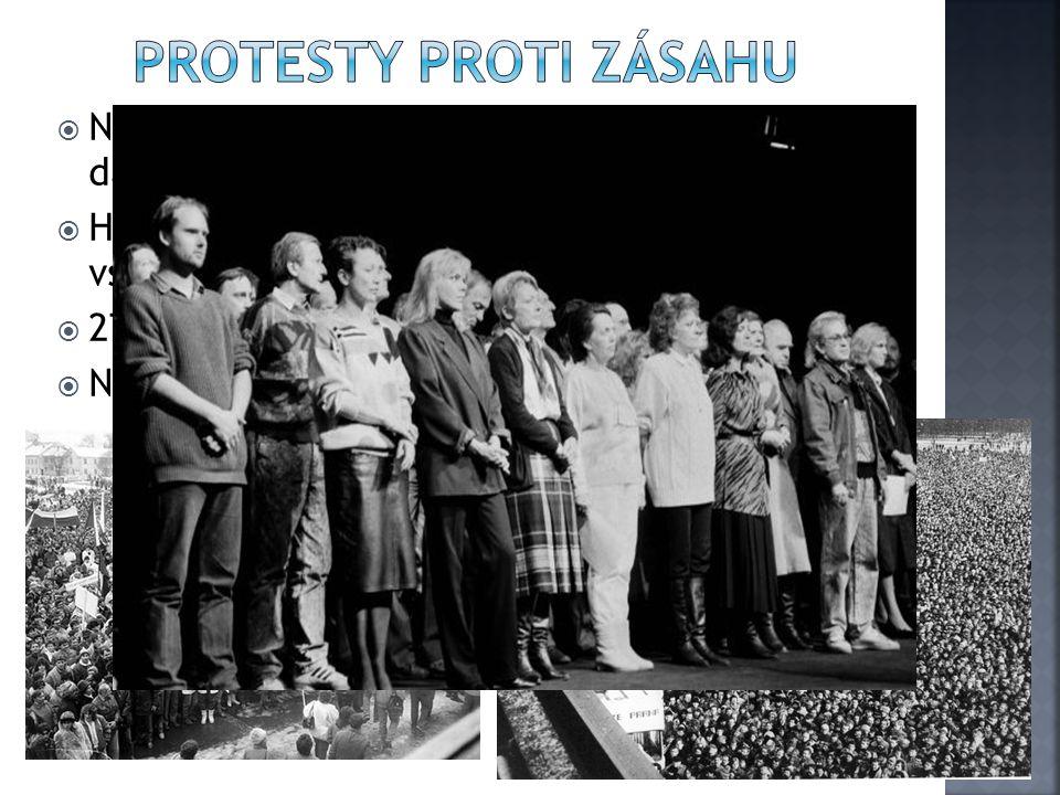  Násilí na studentech vyvolalo vlnu odporu a dalších protestů  Herci pražských divadel a vysokoškoláci vstoupili do stávky  27.