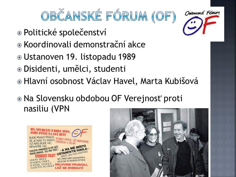  Politické společenství  Koordinovali demonstrační akce  Ustanoven 19.