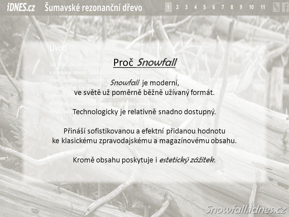 Snowfall.idnes.cz Proč Snowfall Snowfall je moderní, ve světě už poměrně běžně užívaný formát.