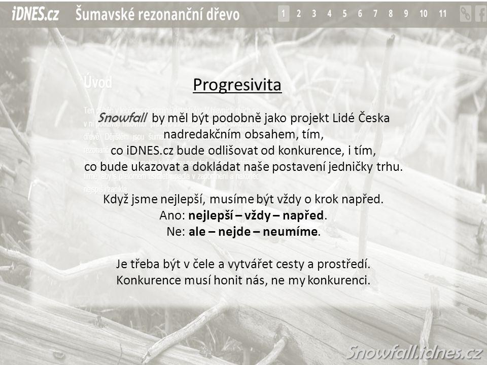 Progresivita Snowfall by měl být podobně jako projekt Lidé Česka nadredakčním obsahem, tím, co iDNES.cz bude odlišovat od konkurence, i tím, co bude ukazovat a dokládat naše postavení jedničky trhu.