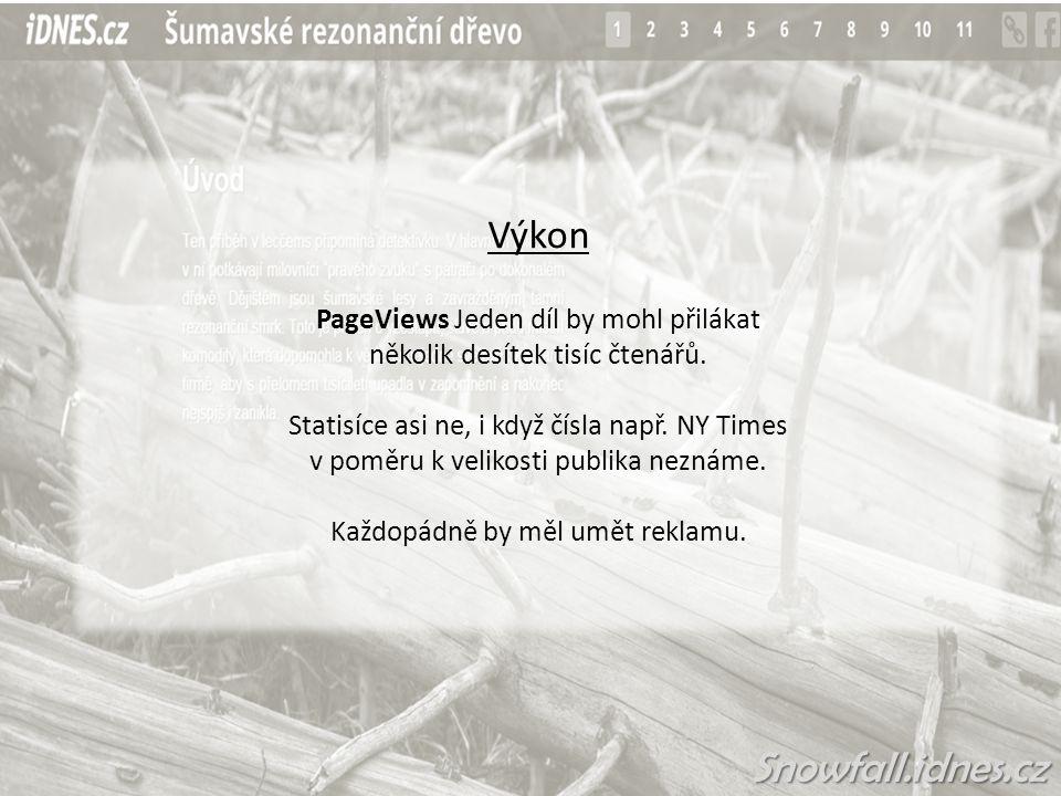 Výkon PageViews Jeden díl by mohl přilákat několik desítek tisíc čtenářů.