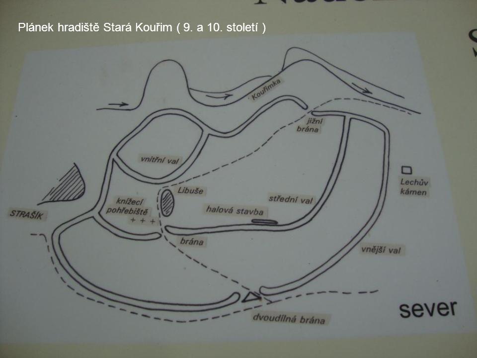 Plánek hradiště Stará Kouřim ( 9. a 10. století )