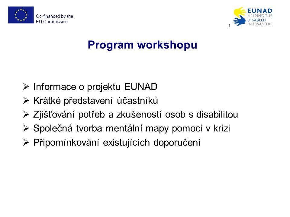 Co-financed by the EU Commission EUNAD No. ECHO/SUB/2012/640917 Program workshopu  Informace o projektu EUNAD  Krátké představení účastníků  Zjišťo