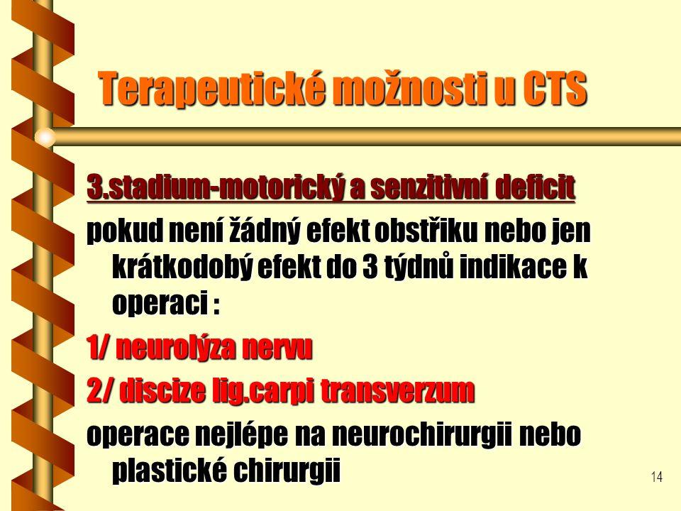 14 Terapeutické možnosti u CTS 3.stadium-motorický a senzitivní deficit pokud není žádný efekt obstřiku nebo jen krátkodobý efekt do 3 týdnů indikace k operaci : 1/ neurolýza nervu 2/ discize lig.carpi transverzum operace nejlépe na neurochirurgii nebo plastické chirurgii