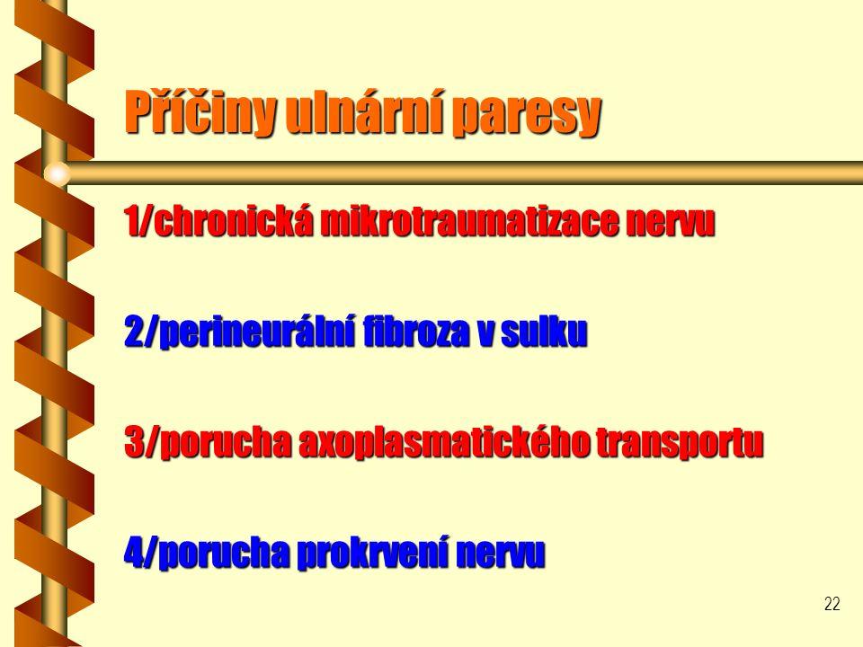 22 Příčiny ulnární paresy 1/chronická mikrotraumatizace nervu 2/perineurální fibroza v sulku 3/porucha axoplasmatického transportu 4/porucha prokrvení nervu