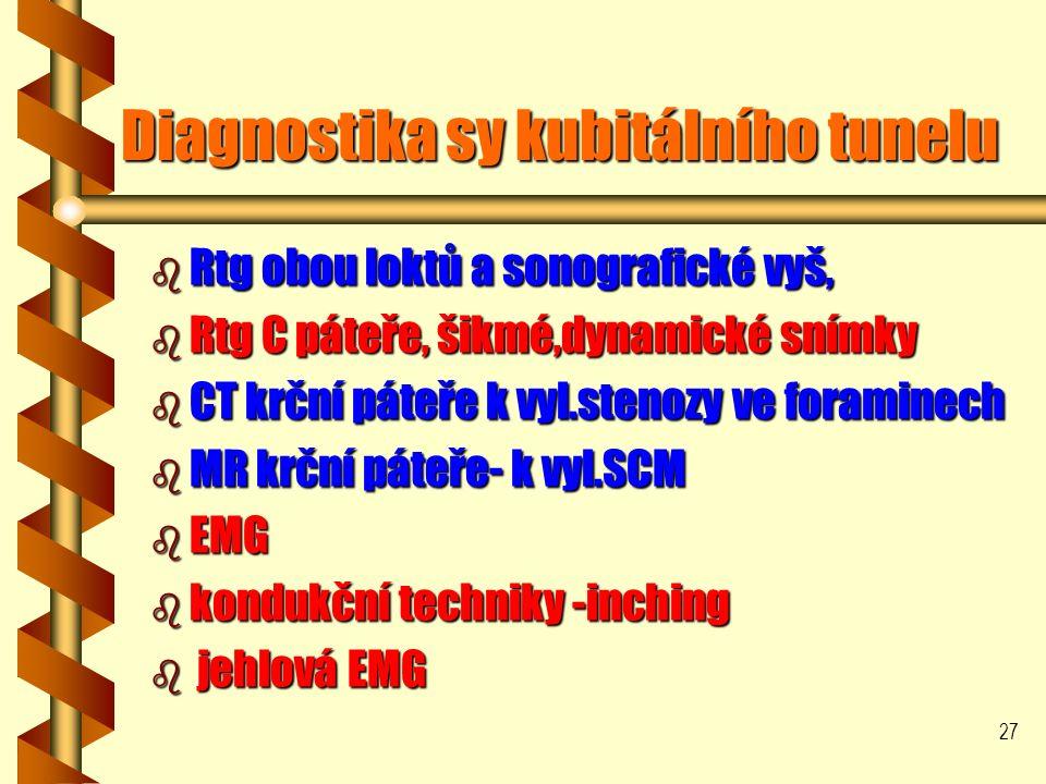 27 Diagnostika sy kubitálního tunelu Diagnostika sy kubitálního tunelu b Rtg obou loktů a sonografické vyš, b Rtg C páteře, šikmé,dynamické snímky b CT krční páteře k vyl.stenozy ve foraminech b MR krční páteře- k vyl.SCM b EMG b kondukční techniky -inching b jehlová EMG
