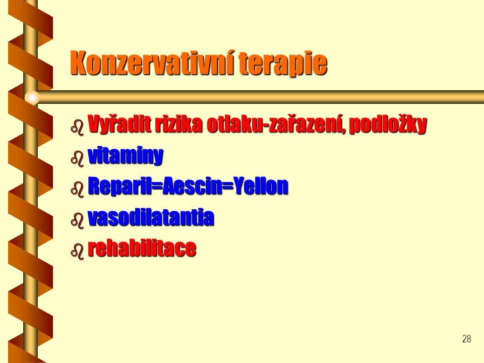 28 Konzervativní terapie b Vyřadit rizika otlaku-zařazení, podložky b vitaminy b Reparil=Aescin=Yellon b vasodilatantia b rehabilitace