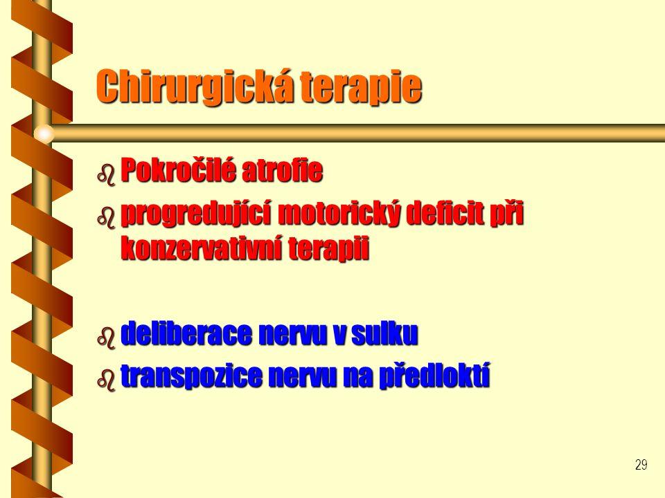 29 Chirurgická terapie b Pokročilé atrofie b progredující motorický deficit při konzervativní terapii b deliberace nervu v sulku b transpozice nervu na předloktí