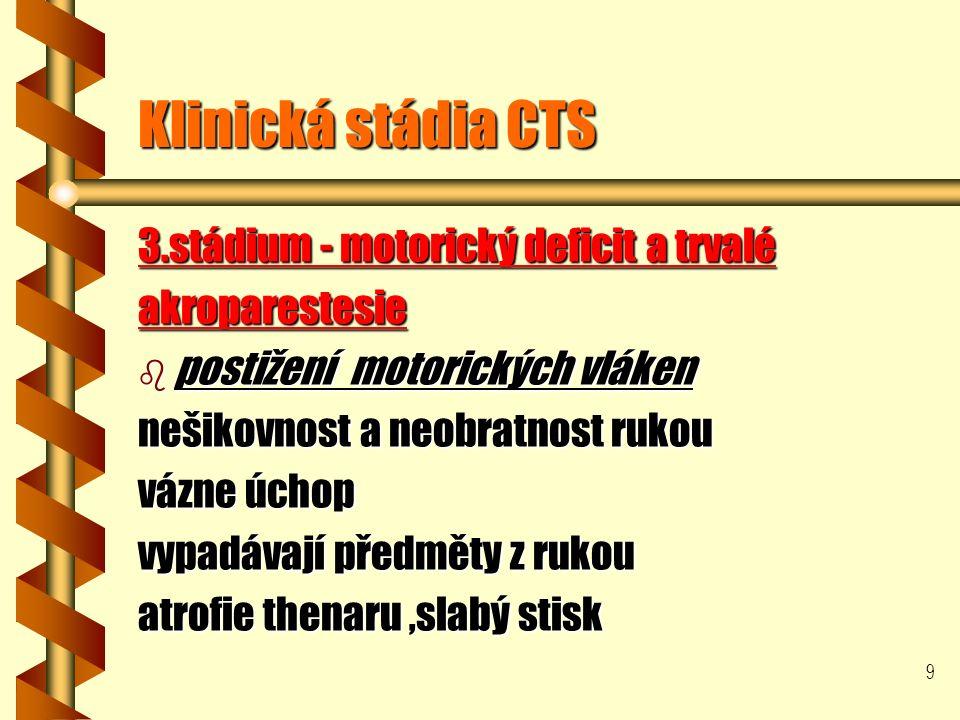 9 Klinická stádia CTS 3.stádium - motorický deficit a trvalé akroparestesie b postižení motorických vláken nešikovnost a neobratnost rukou vázne úchop vypadávají předměty z rukou atrofie thenaru,slabý stisk