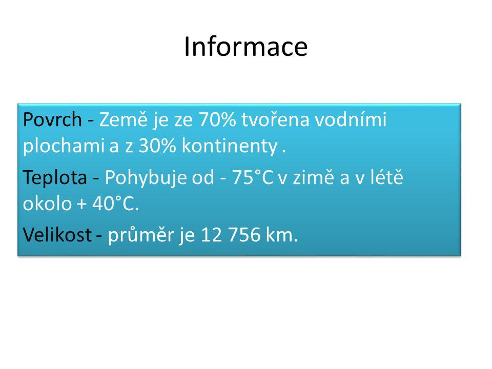 Informace Povrch - Země je ze 70% tvořena vodními plochami a z 30% kontinenty.